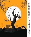 leafless old tree under full... | Shutterstock .eps vector #1204273477