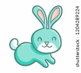 funny and cute green rabbit... | Shutterstock .eps vector #1204289224