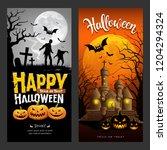 halloween banners vertical... | Shutterstock .eps vector #1204294324