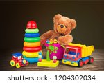 colorful toys collection on ... | Shutterstock . vector #1204302034