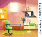 student small room  cartoon... | Shutterstock . vector #1204302394