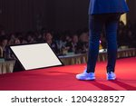 speaker on stage in a... | Shutterstock . vector #1204328527