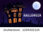 halloween castle concept... | Shutterstock .eps vector #1204332124