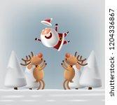 santa claus and deers  vector | Shutterstock .eps vector #1204336867