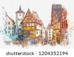 a watercolor sketch or... | Shutterstock . vector #1204352194