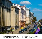 Small photo of Minsk, Belarus, 02-08-2018, Karl Marx Street, old architecture in the historical center of the city, a fragment of a street, a national treasure; top view, editorial