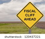 caution   fiscal cliff ahead | Shutterstock . vector #120437221