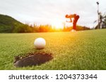 golf ball on green grass ready... | Shutterstock . vector #1204373344