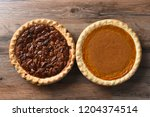 top view of a fresh baked...   Shutterstock . vector #1204374514