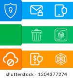 simple set of  9 outline icons... | Shutterstock .eps vector #1204377274