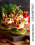Small photo of Christmas party idea: Kids Christmas burger Reindeer Sloppy Joe