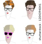 women faces with glasses and... | Shutterstock .eps vector #1204394041