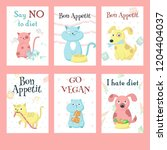 vector set of cards with cute... | Shutterstock .eps vector #1204404037