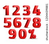 set of 3d red numbers sign. 3d... | Shutterstock . vector #1204439881
