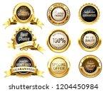 realistic golden labels.... | Shutterstock .eps vector #1204450984