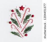 christmas composition. fir tree ... | Shutterstock . vector #1204451377