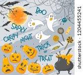 collection of halloween... | Shutterstock .eps vector #1204455241