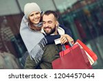 portrait of happy couple with... | Shutterstock . vector #1204457044