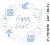 easter symbols. easter cake ... | Shutterstock .eps vector #1204458151