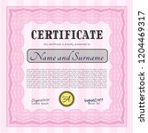 pink certificate of achievement ... | Shutterstock .eps vector #1204469317