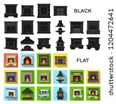 different kinds of fireplaces... | Shutterstock .eps vector #1204472641