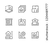 set line icons of architectural ... | Shutterstock . vector #1204489777