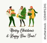 christmas and happy new year... | Shutterstock .eps vector #1204491241
