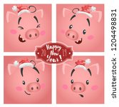 cute funny big pig faces in... | Shutterstock .eps vector #1204498831