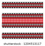 set of seamless embroidered... | Shutterstock .eps vector #1204513117
