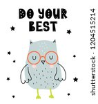 Stock vector vector poster with cartoon cute owl for kids and funny slogan in scandinavian style hand drawn 1204515214