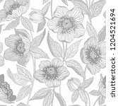 monochrome seamless floral... | Shutterstock .eps vector #1204521694