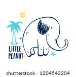 hand drawing elephant... | Shutterstock .eps vector #1204543204