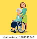 elderly woman sitting on a... | Shutterstock .eps vector #1204545547