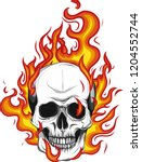 Skull On Fire With Flames...