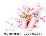 pale pink mini bottles of... | Shutterstock . vector #1204563394