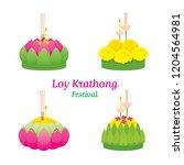 loy krathong festival  objects  ... | Shutterstock .eps vector #1204564981