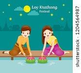 loy krathong festival  couple... | Shutterstock .eps vector #1204564987