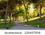 park on hill Montjuic in Barcelona. Spain - stock photo