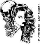 girl with skeleton make up hand ... | Shutterstock .eps vector #1204580854