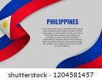 waving ribbon or banner with... | Shutterstock .eps vector #1204581457