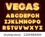 font with lamps. gold light... | Shutterstock .eps vector #1204584004