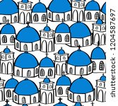 santorini  famous greece island ... | Shutterstock .eps vector #1204587697