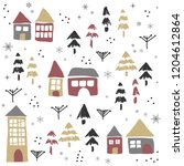christmas pattern with houses... | Shutterstock .eps vector #1204612864