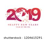 pig 2019. happy new year  year...   Shutterstock .eps vector #1204615291
