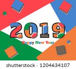 happy new 2019 year. greetings... | Shutterstock .eps vector #1204634107