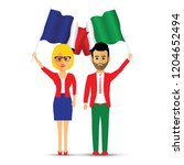 france and italy flag waving...   Shutterstock .eps vector #1204652494