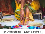 indian bridal ubtan haldi... | Shutterstock . vector #1204654954