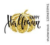 happy halloween with gold...   Shutterstock .eps vector #1204655941
