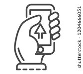 smartphone upload icon. outline ...   Shutterstock .eps vector #1204666051