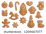 christmas gingerbread cookies ... | Shutterstock .eps vector #1204667077